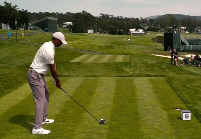 Unlike at the PGA Championship, where Woods was hardly seen at Bethpage practicing ahead of the major, Tiger already has gotten in a round at Pebble