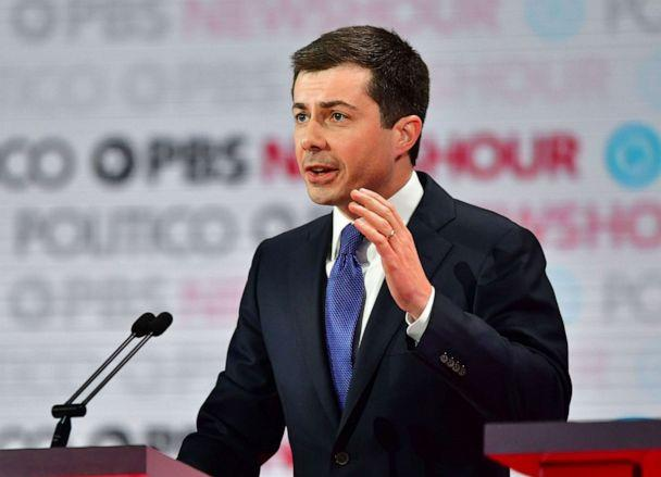 PHOTO: Democratic presidential hopeful Pete Buttigieg speaks on stage during the sixth Democratic primary debate of the 2020 presidential campaign season co-hosted by PBS NewsHour & Politico at Loyola Marymount University in Los Angeles, California. (Frederic J. Brown/AFP via Getty Images)