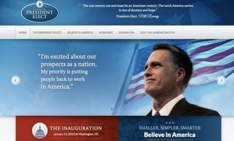 Political Wire's Taegan Goddard captured screenshots of Mitt Romney's presidential transition website before it disappeared from the internet.