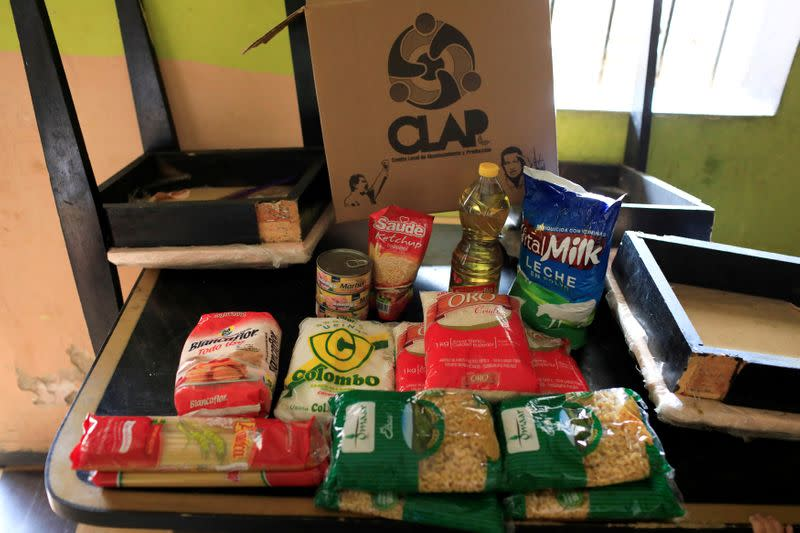 FILE PHOTO: The contents of a CLAP box is pictured at Viviana Colmenares' house in Caracas