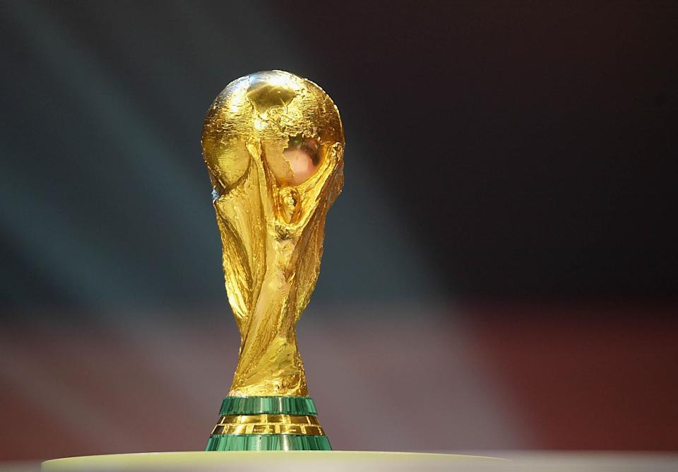 FRANKFURT, GERMANY - DECEMBER 5: The World Cup Trophy during the 2006 FIFA World Cup Qualifying Group Draw at the Messe Frankfurt on December 5, 2003 in Franfurt, Germany.  (Photo by Stuart Franklin/Getty Images)