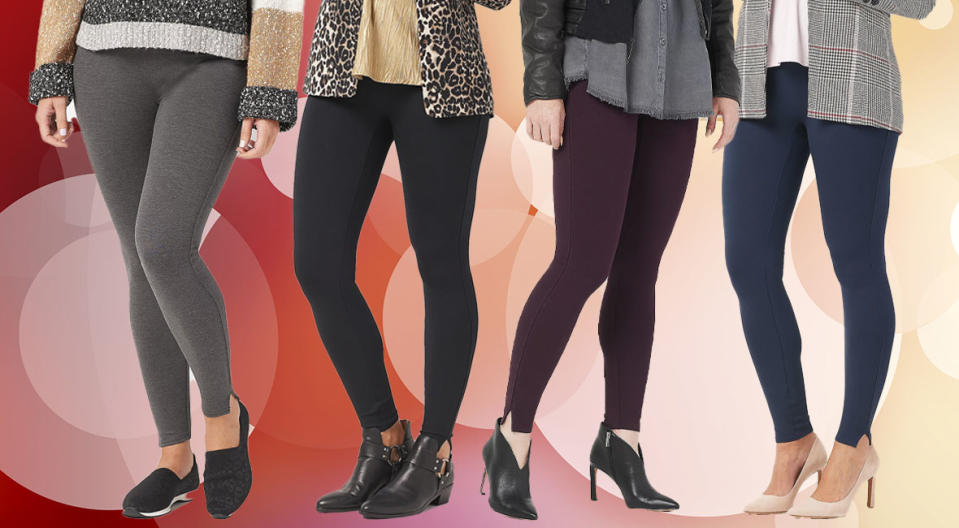 Spanx Ankle Length Ponte Hem Slit Leggings come in four colors, three lengths, and sizes XS to 3X. (Photo: QVC)