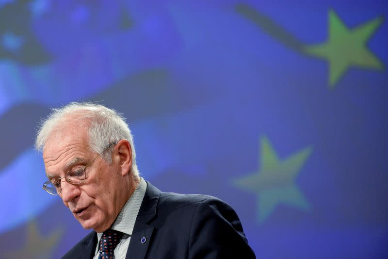 FILE PHOTO: European Union foreign policy chief Josep Borell speaks during a news conference in Brussels