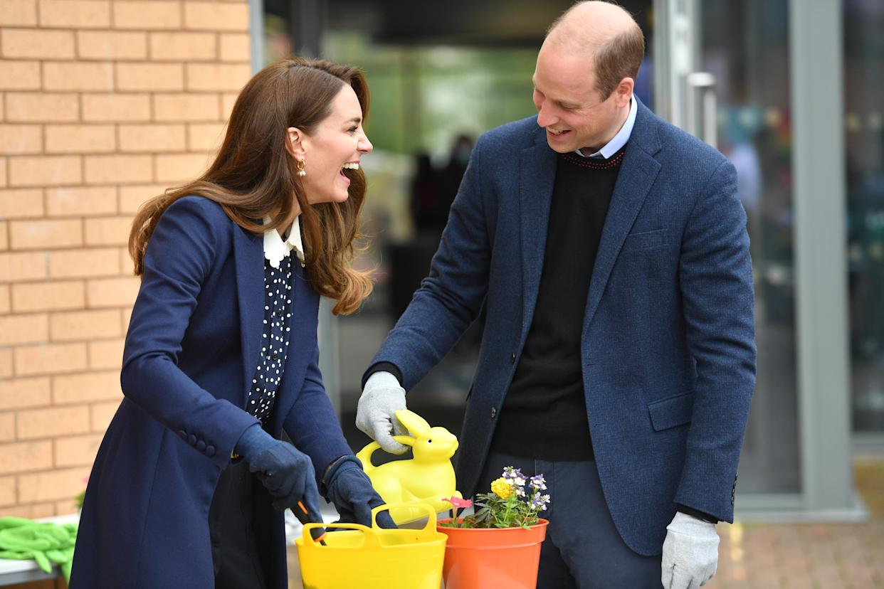 The Duke and Duchess of Cambridge at a gardening session during a visit to The Way Youth Zone in Wolverhampton, West Midlands. Picture date: Thursday May 13, 2021.