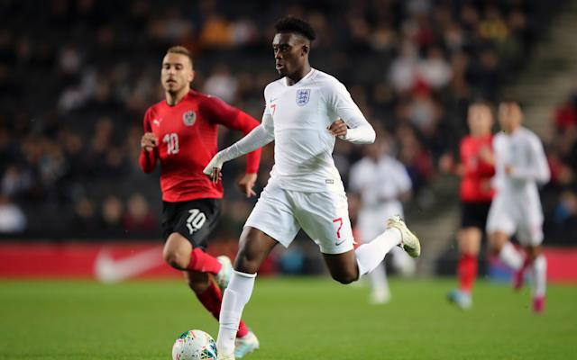 Callum Hudson-Odoi was in sensational form and scored twice as England under-21s thrashed Austria - Getty Images Europe