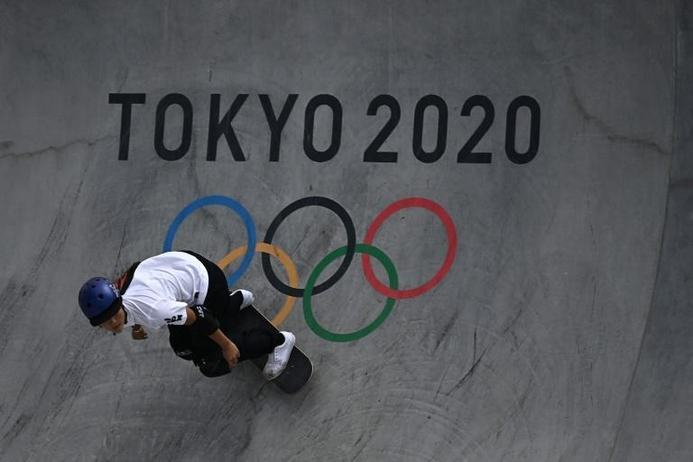 Japan's Sakura Yosozumi competes in the women's park skateboarding competition at the Tokyo Olympics
