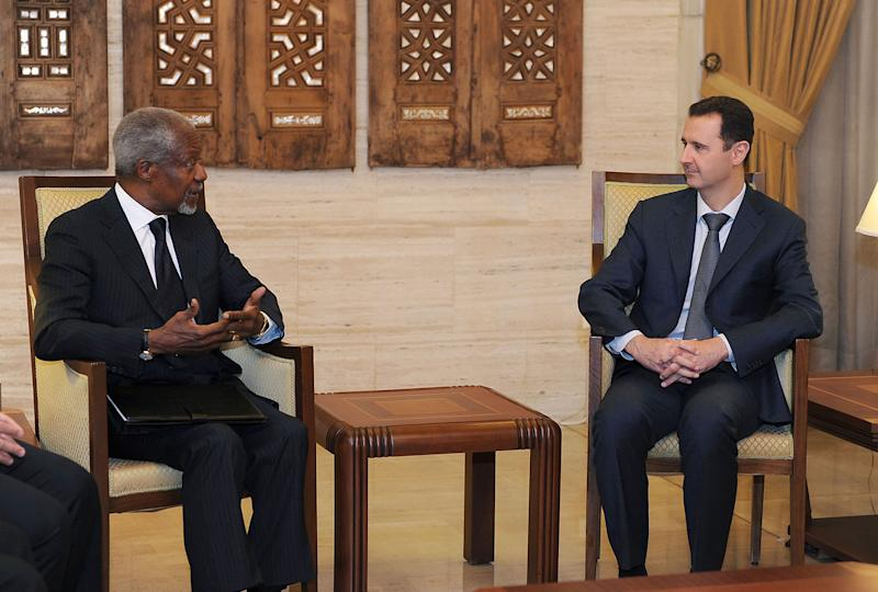 FILE - In this March 10, 2012 file photo released by the Syrian official news agency SANA, President Bashar Assad, right, meets with Kofi Annan, the United Nations special envoy to Syria, in Damascus, Syria. On Thursday, Aug. 2, 2012, Annan said he is quitting as special envoy to Syria, effective Aug. 31. (AP Photo/SANA, File)
