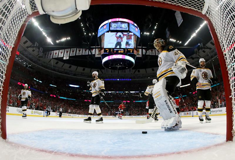 Boston Bruins goalie Tuukka Rask (40) reacts after giving up a goal by Chicago Blackhawks left wing Brandon Saad (20) during the second period of Game 1 in their NHL Stanley Cup Final hockey series, Wednesday, June 12, 2013, in Chicago. (AP Photo/Bruce Bennett, Pool)