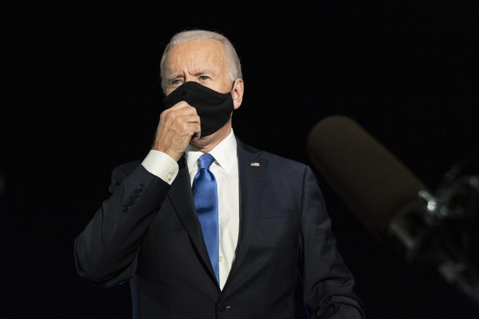Democratic candidate former Vice President Joe Biden speaks to reporters before boarding his campaign plane at Nashville International Airport Thursday, Oct. 22, 2020, in Nashville, Tenn., en route to Wilmington, Del., after the final presidential debate against Republican candidate President Donald Trump. (AP Photo/Carolyn Kaster)