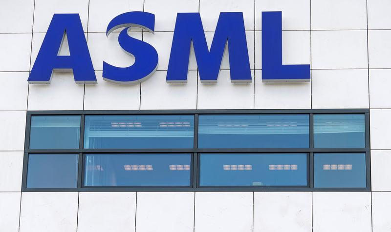 ASML logo is seen at the headquarters in Veldhoven