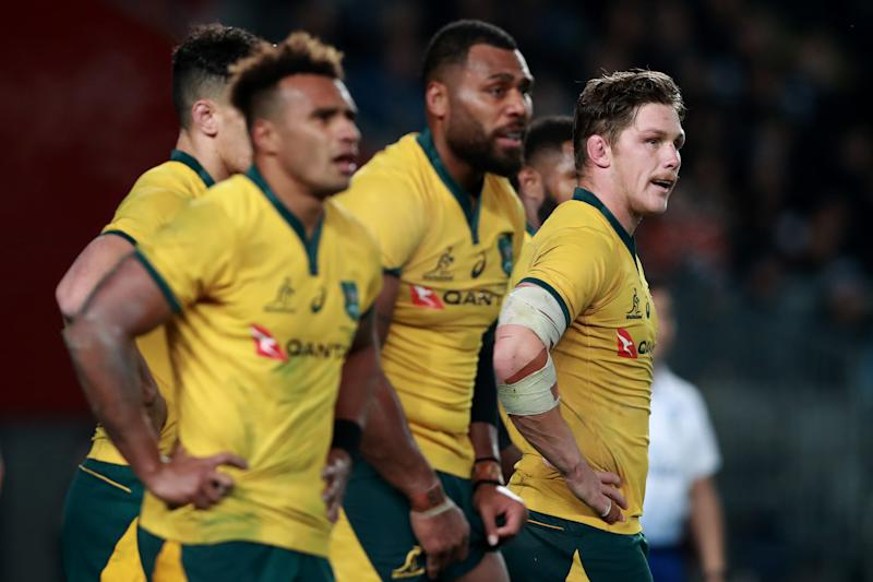 AUCKLAND, NEW ZEALAND - AUGUST 17: Michael Hooper of the Wallabies looks on during the 2019 Rugby Championship Test Match between the New Zealand All Blacks and the Australian Wallabies at Eden Park on August 17, 2019 in Auckland, New Zealand. (Photo by Hannah Peters/Getty Images)