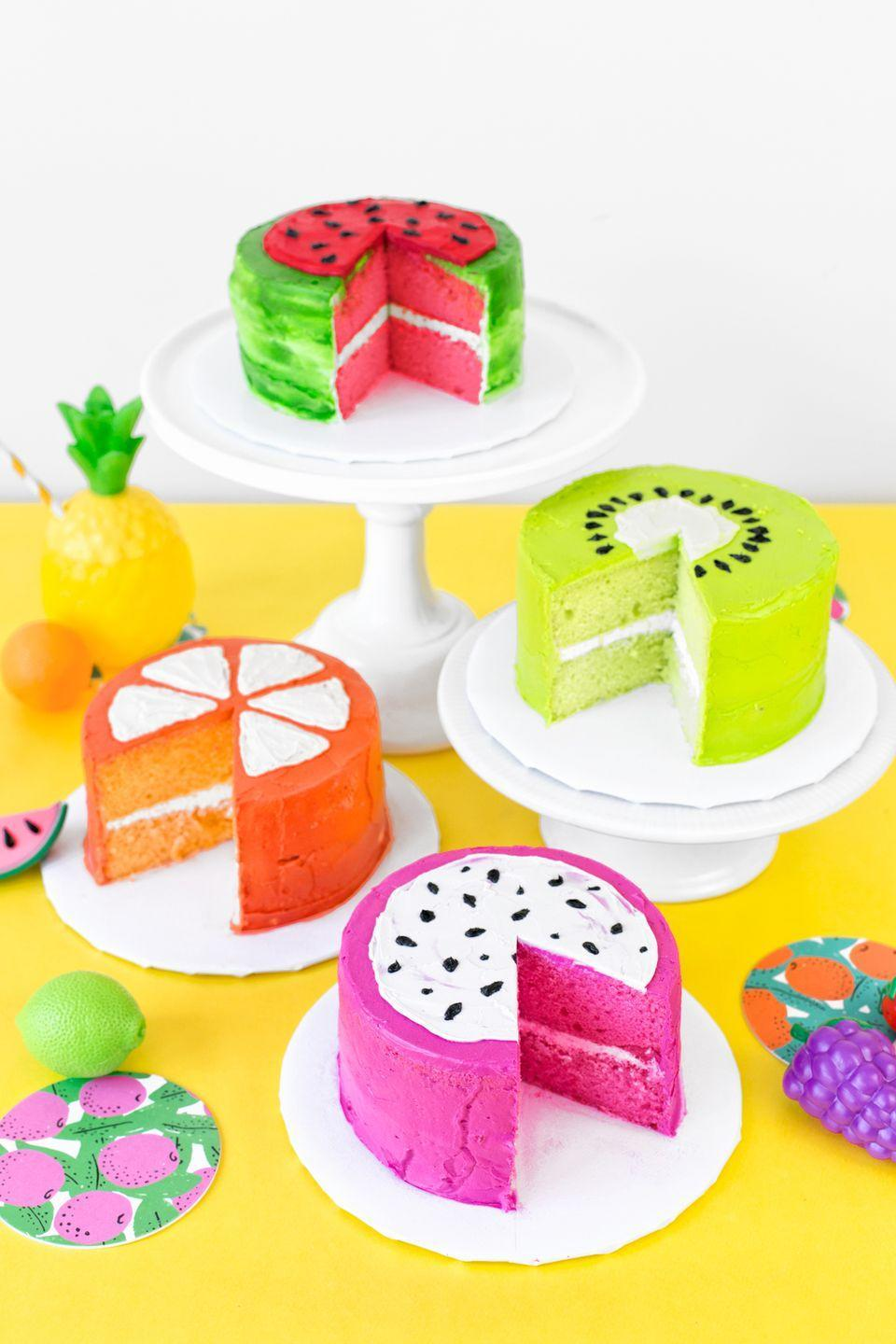 "<p>A colorful, fruit-inspired garden party is just what you need to brighten up your big day. Good old-fashioned fruit can and should be on the menu, but the party would be incomplete without these adorable fruit-themed cakes.</p><p><strong>Get the recipes from <a href=""https://studiodiy.com/fruit-garden-party/"" rel=""nofollow noopener"" target=""_blank"" data-ylk=""slk:Studio DIY!"" class=""link rapid-noclick-resp"">Studio DIY!</a>.</strong></p><p><a class=""link rapid-noclick-resp"" href=""https://go.redirectingat.com?id=74968X1596630&url=https%3A%2F%2Fwww.walmart.com%2Fip%2F50-Pack-Watermelon-Luncheon-Napkins-3-Ply-Tutti-Frutti-Dinner-Napkins-Summer-Pool-Fruit-Party-Baby-Shower-Two-tti-Fruity-2nd-Birthday-Supplies-6-3-x-%2F934655231&sref=https%3A%2F%2Fwww.thepioneerwoman.com%2Fhome-lifestyle%2Fentertaining%2Fg34192298%2F50th-birthday-party-ideas%2F"" rel=""nofollow noopener"" target=""_blank"" data-ylk=""slk:SHOP WATERMELON NAPKINS"">SHOP WATERMELON NAPKINS</a></p>"