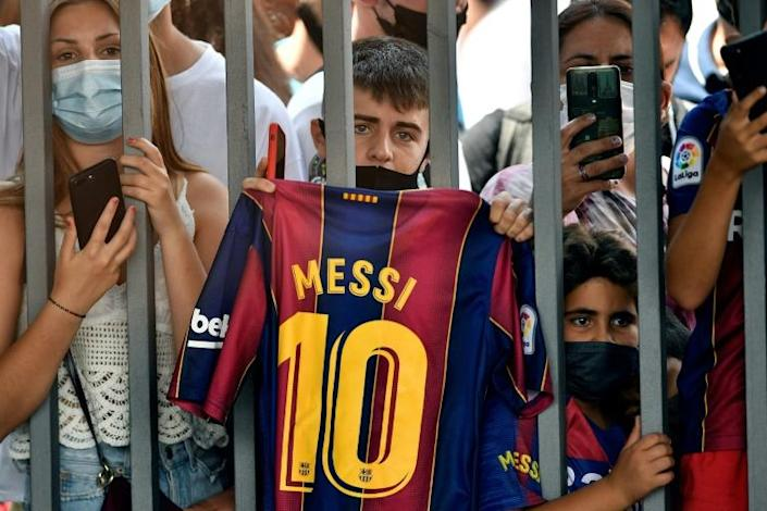 Barcelona fans gathered at the Camp Nou on Sunday to bid farewell to Lionel Messi