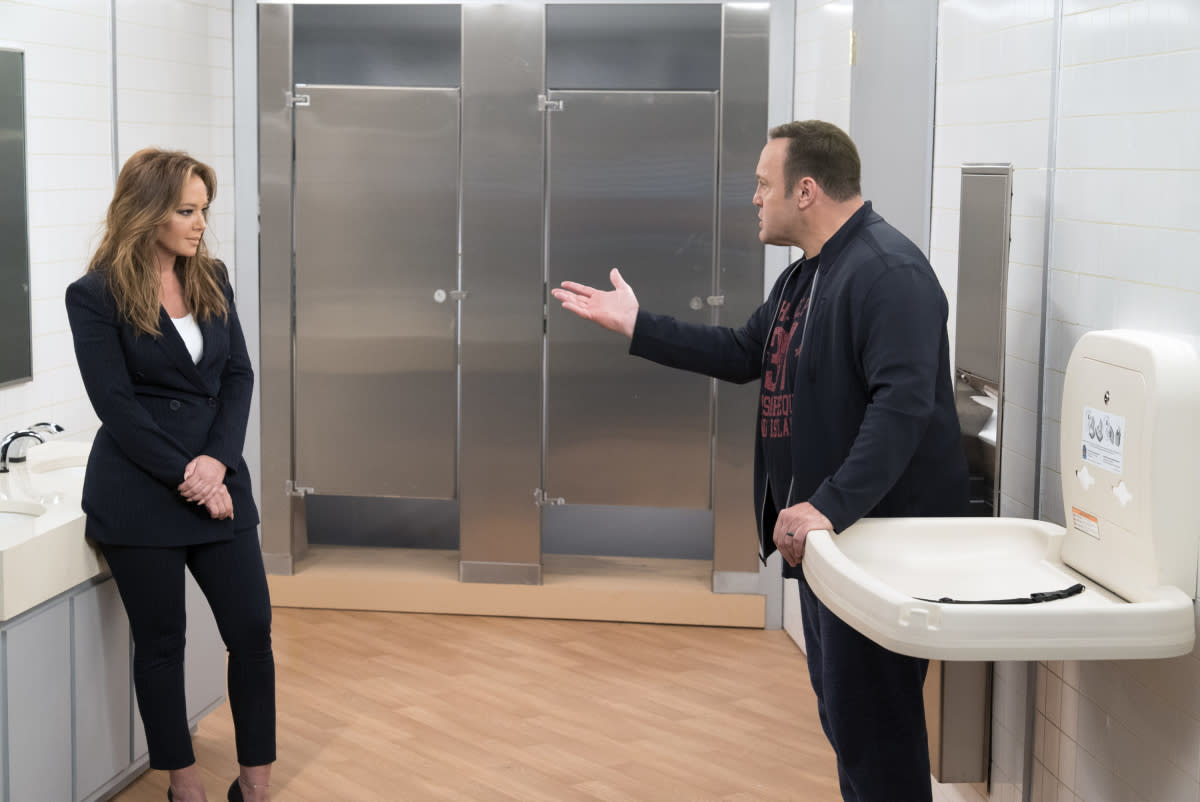 "<p>Kevin James and Leah Remini need to hook up already on <em>Kevin Can Wait</em>. <a rel=""nofollow"" href=""https://www.yahoo.com/entertainment/sorry-kevin-can-wait-shippers-kevin-james-leah-remini-will-not-hooking-140016786.html"">James has said there is no plan</a> for his character to get romantic with new leading lady Vanessa (Remini), but we're not buying it. Not only do the longtime <em>King of Queens</em> co-stars have killer chemistry, but James's TV wife was killed off of the sophomore CBS sitcom. The widower's high-heeled co-worker hangs around his house a lot, and their flirty arguments are giving us Doug and Carrie déjà vu. By season's end, these two need to kiss and make up. — <em>Victoria Leigh Miller</em><br /><br />(David M. Russell/CBS) </p>"