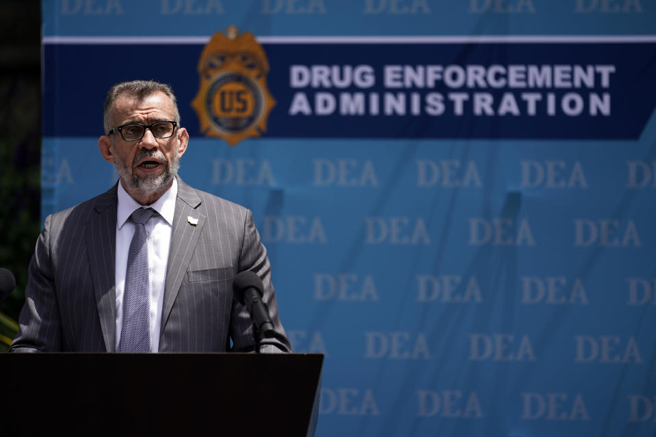 DEA Special Agent in Charge Bill Bodner addresses the media outside the Edward R. Roybal Federal Building, Thursday, May 13, 2021, in Los Angeles. Federal authorities say they have arrested at least 10 suspected drug dealers accused of selling fentanyl and other opioids that led to overdose deaths. (AP Photo/Marcio Jose Sanchez)