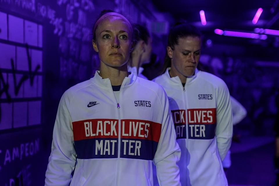 Team captain and USWNT union president Becky Sauerbrunn (foreground) is mindful of the influence the players can have on issues like social justice. (Photo by Brad Smith/ISI Photos/Getty Images)