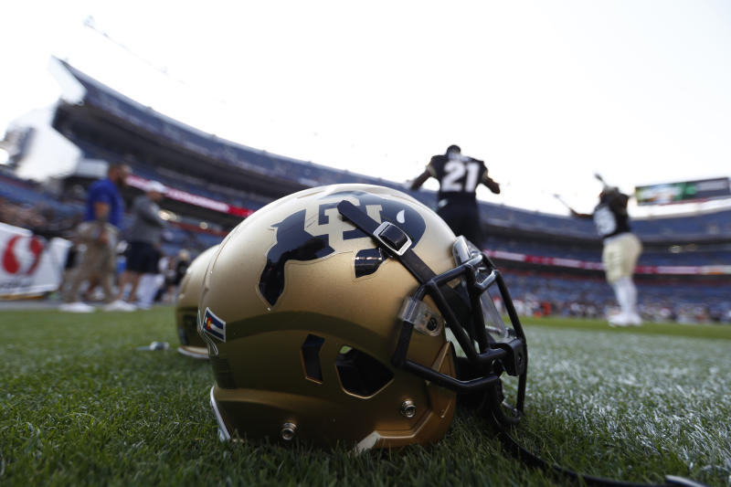 Colorado Buffaloes helmet in the end zone in the first half of an NCAA college football game Friday, Sept. 1, 2017, in Denver. (AP Photo/David Zalubowski)