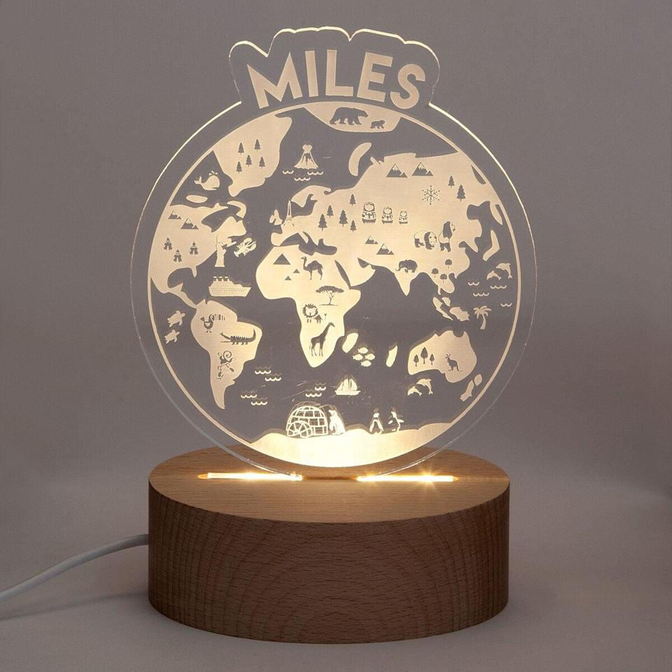 <p>Make them feel special with the <span>Personalized Earth and Space Nightlights</span> ($65).</p>