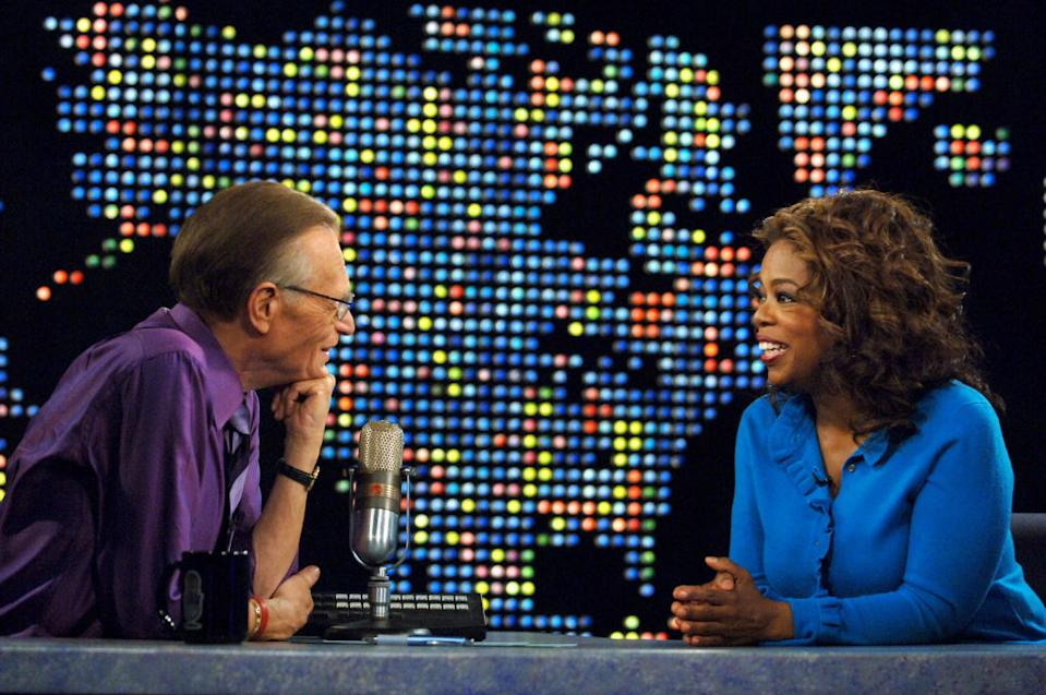 Larry King interviewed Oprah Winfrey in April 2007.  (Photo: Michael Calfield / Wire Age for Turner)