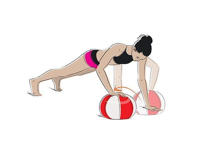 <p><strong>Needed: </strong>Ball</p><p><strong>1/</strong> Start in a high plank with your hands on the sand either side of the ball. Then place your left hand on the ball, ensuring you don't put too much weight on it.</p><p><strong>2/ </strong>Put your left hand down on the sand then place your right hand on top of the ball. Keep alternating your hands.</p>
