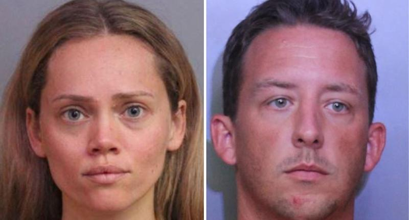 Mugshot photos of Courtney and Joseph, side by side.