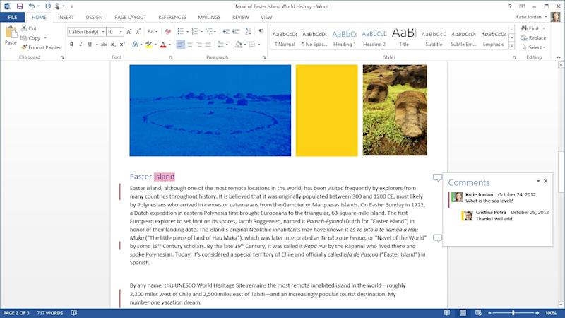 This image provided bu Microsoft shows the company's new version of its Office software. The software became available to consumers as an online subscription service for the first time in an attempt to extend one of the company's key franchises beyond personal computers on Tuesday, Jan. 29, 2013. (AP Photo/Microsoft)