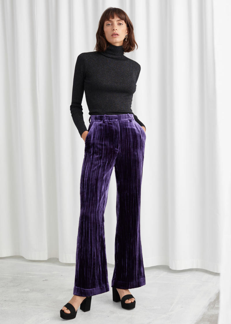 & Other Stories crushed velvet kick flare trousers. (Credit: & Other Stories)