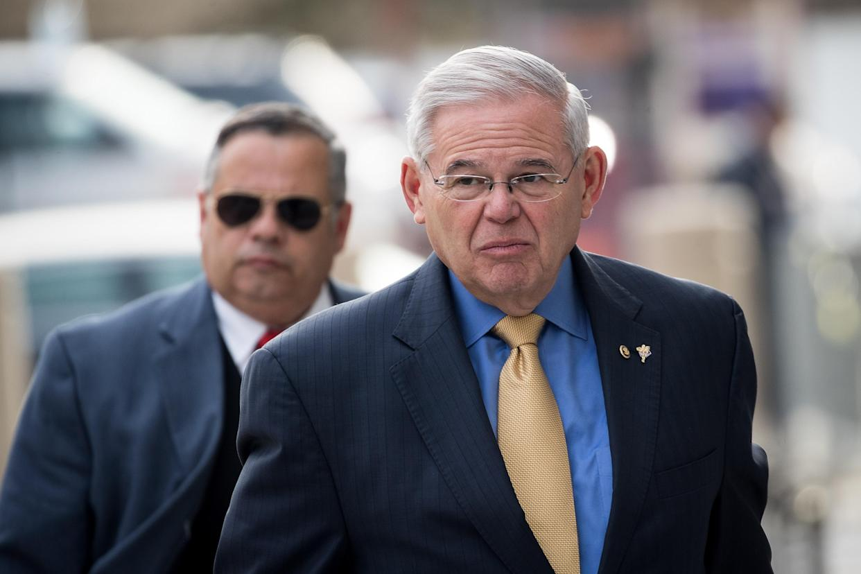 Menendez arrives at federal court in Newark on Nov. 14, 2017, during his corruption trial. (Photo: Drew Angerer/Getty Images)