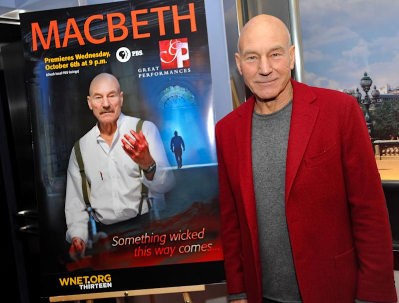Actor Sir Patrick Stewart attends the world premiere of 'Macbeth' at the Paris Theatre on Monday, Oct. 4, 2010 in New York. (AP Photo/Evan Agostini)