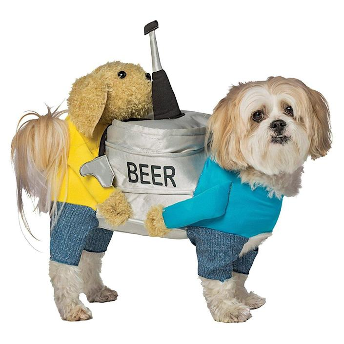 Dog wearing a Dogs Carrying Beer Keg Pet Costume on a white background