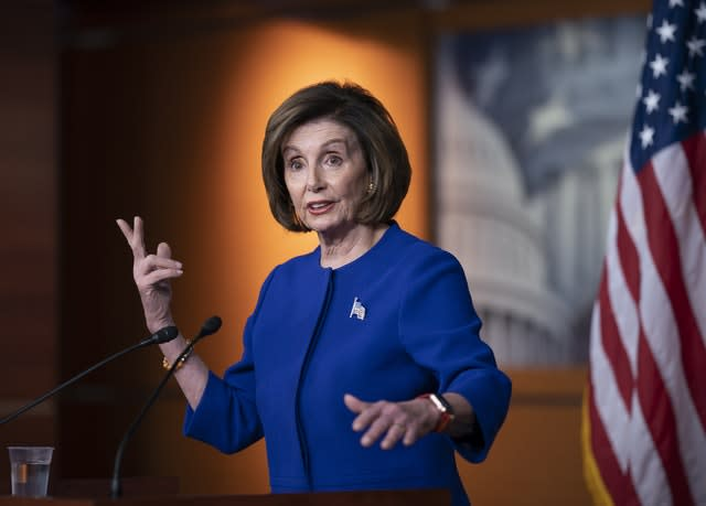 Speaker of the House Nancy Pelosi, who accused Mr Barr of stooping to a low level in politicising judicial matters (J Scott Applewhite/AP)