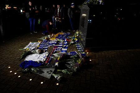 Soccer Football - Cardiff City - Cardiff City Stadium, Cardiff, Britain - January 22, 2019 General view of tributes left outside the stadium for Emiliano Sala REUTERS/Rebecca Naden