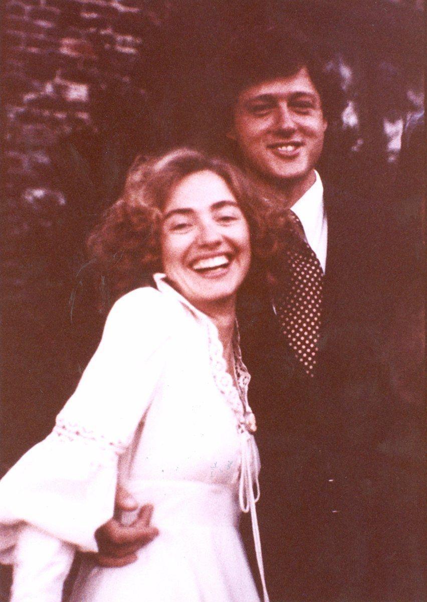 """<p>The former president and first lady <a href=""""https://www.theknot.com/content/hillary-and-bill-clinton-wedding-story"""" rel=""""nofollow noopener"""" target=""""_blank"""" data-ylk=""""slk:met at the library"""" class=""""link rapid-noclick-resp"""">met at the library</a> at Yale Law School. """"I noticed that he kept looking over at me,"""" Hillary said. """"I said 'If you're going to keep looking at me, and I'm going to keep looking back, we might as well be introduced. I'm Hillary Rodham,"""" she said. They were married in Arkansas on October 11, 1975 and have one daughter together, Chelsea. <br></p>"""