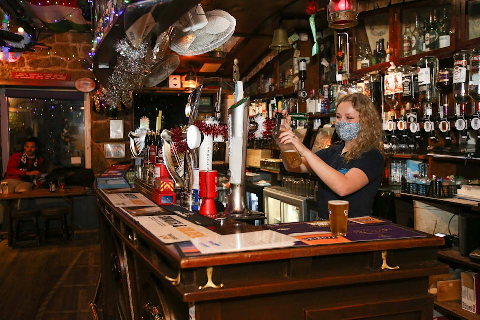 Pub-goers can enjoy their pints inside the pub in the Isles of Scilly. (Chris Hall/SWNS)