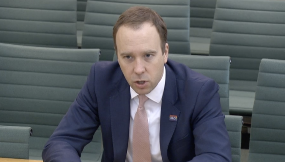 Matt Hancock criticised the 'British way' of people going into work when they have flu symptoms. (Parliamentlive.tv)