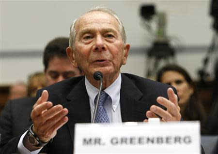 Former American International Group (AIG) CEO Maurice Greenberg testifies before a House Oversight and Government Reform hearing in Washington in this file photo taken April 2, 2009. REUTERS/Kevin Lamarque/Files