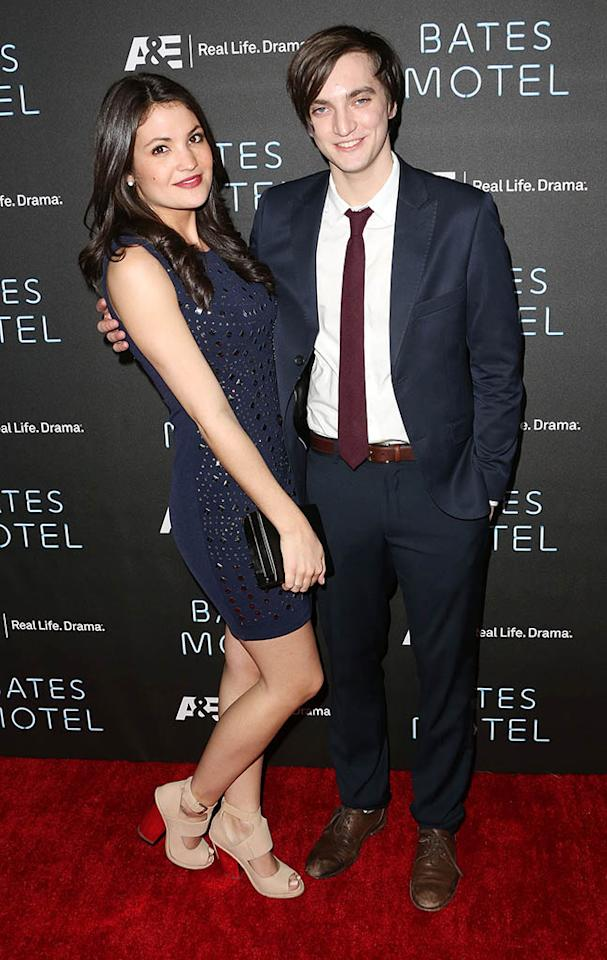 "Jenna Romanin and Richard Harmon arrive at the premiere of A&E Network's ""Bates Motel"" at Soho House on March 12, 2013 in West Hollywood, California."