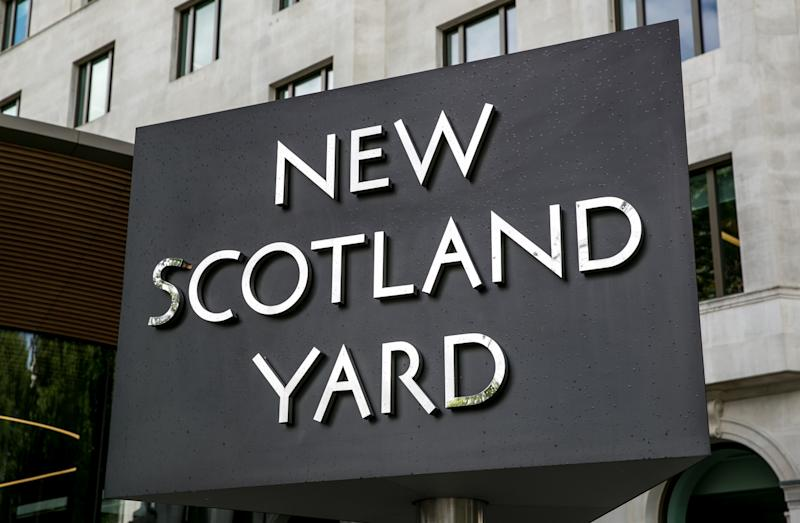 "LONDON, ENGLAND - SEPTEMBER 13: The entrance to New Scotland Yard near Whitehall is viewed on September 13, 2017, in London, England. Great Britain's move toward ""Brexit,"" or the departure from the European Union, has not deterred the late summer crowds visiting city museums, hotels, and other important tourist attractions. (Photo by George Rose/Getty Images)"
