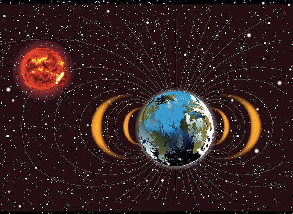 This is an illustration of layers of radiation belts close to Earth that were produced as a result of Cold War high-altitude nuclear explosion tests. (Photo: NASA/Goddard Space Flight Center)
