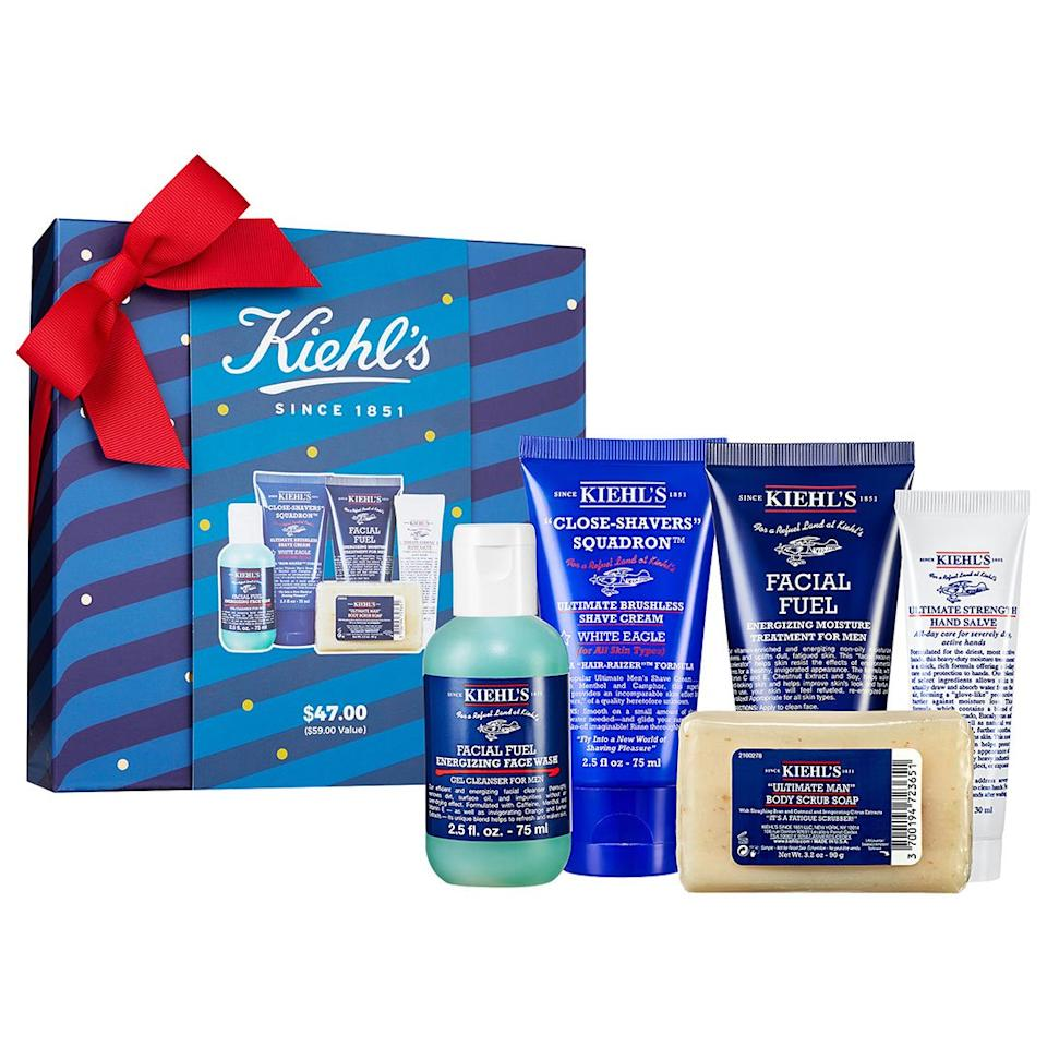 """<em><strong>Hanna Flanagan, Editorial Assistant:</strong></em> It's 2019 — if your man hasn't already discovered the wonders of skincare, you've been doing something wrong. Luckily, Kiehl's is here to help. This unintimidating, all-in-one gift set includes a cleanser, an exfoliator, a moisturizer, a hand cream and a shave cream. Next thing you know, he'll be begging for a face mask date!  <strong>Buy It!</strong> <a href=""""https://click.linksynergy.com/deeplink?id=93xLBvPhAeE&mid=2417&murl=https%3A%2F%2Fwww.sephora.com%2Fproduct%2Fmen-s-groom-on-the-go-set-P450619%3FskuId%3D2275956&u1=PEO%2CTheBestGiftsforGuys%2Ccolleenkratofil26%2CUnc%2CGal%2C7376574%2C201911%2CI"""" target=""""_blank"""" rel=""""nofollow"""">Men's Grooming On The Go Set, $47; sephora.com</a>"""