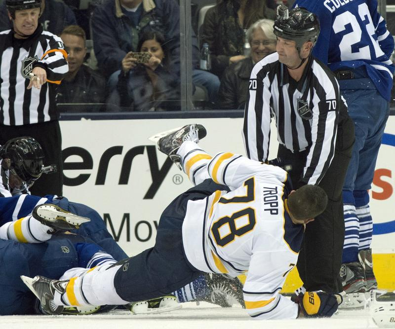 Sabres RW Tropp out with broken jaw