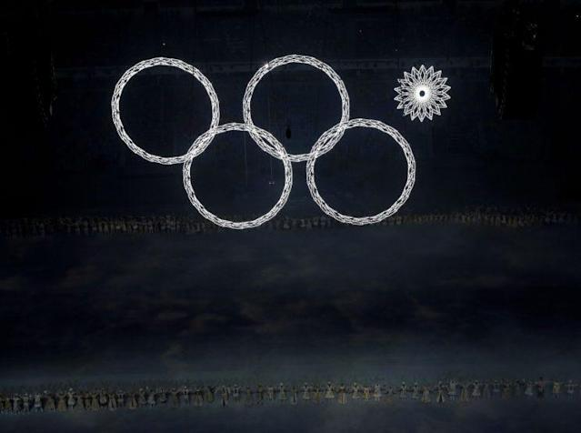 One of the Olympic rings fails to open during the opening ceremony of the 2014 Winter Olympics in Sochi, Russia. (AP)