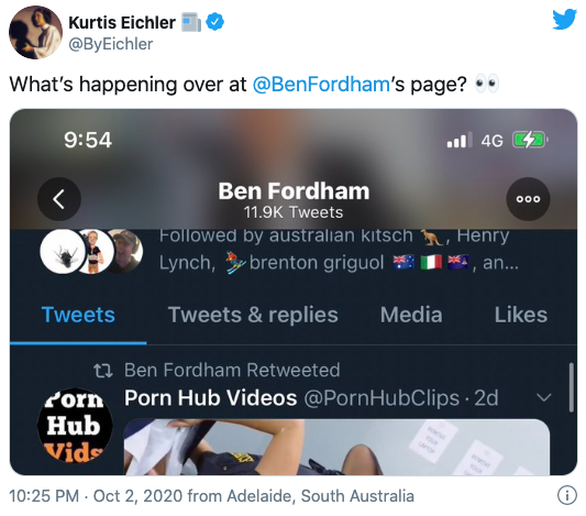 ben fordham x-rated twitter hack