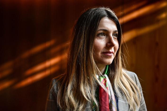 Iranian women's rights activist Shaparak Shajarizadeh on the sidelines of The Geneva Summit for Human Rights and Democracy, in Geneva on Feb. 18, 2020.   Fabrice Coffrini—AFP/Getty Images