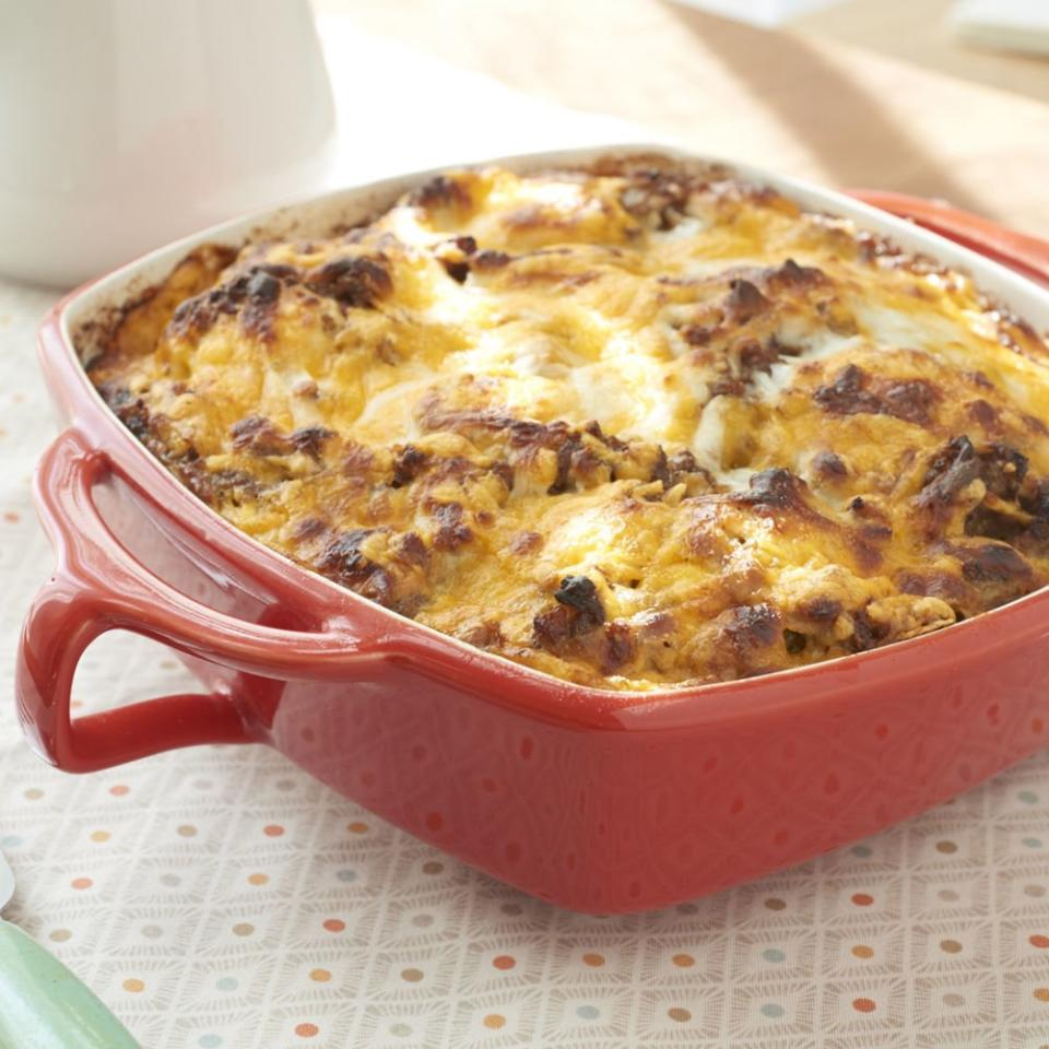 "<p><strong>Recipe: <a href=""https://www.southernliving.com/syndication/sausage-egg-biscuits-casserole"">Sausage, Egg and Biscuits Casserole</a></strong></p> <p>A savory casserole that includes our favorite breakfast essentials.</p>"