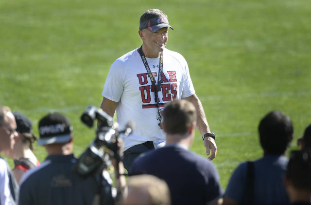 Utah head coach Kyle Whittingham is entering his 14th season with the program. (AP)