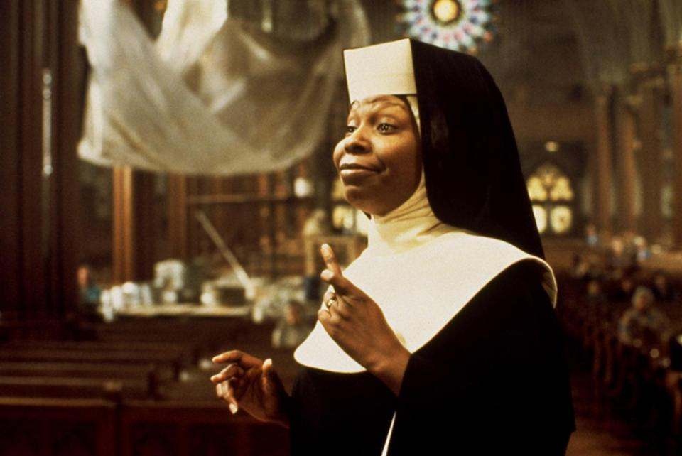 "<p>The plot of <em>Sister Act</em> was pure camp but also pure genius. It follows a former lounge singer who goes into a witness protection program after seeing her mobster boyfriend commit a crime. The twist? Her new identity is a nun named Sister Mary Clarence, and the movie follows her hilariously entering convent life. Whoopi Goldberg, of course, played the lead role with an endless amount of comedy and wit. </p> <p><em>Available to rent on</em> <a href=""https://www.amazon.com/Sister-Act-Whoopi-Goldberg/dp/B00D8JFO7O"" rel=""nofollow noopener"" target=""_blank"" data-ylk=""slk:Amazon Prime Video"" class=""link rapid-noclick-resp""><em>Amazon Prime Video</em></a><em>.</em></p>"