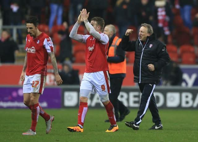 Warnock, right, departed Rotherham at the end of the 2015/16 season (Nigel French/PA)