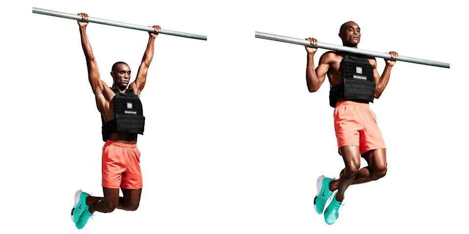 """<p>Switch to your upper body by grabbing a bar with an overhand grip and hanging at arm's length (<strong>A</strong>). Squeeze your <a href=""""https://www.menshealth.com/uk/workouts/a37110458/bigger-shoulders-burn-fat-workout/"""" rel=""""nofollow noopener"""" target=""""_blank"""" data-ylk=""""slk:shoulder"""" class=""""link rapid-noclick-resp"""">shoulder</a> blades together to pull yourself up until your chin crosses the bar (<strong>B</strong>). Pause, then lower down. </p>"""