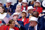 <p>In 2000, the Olympians wore a mixture of red and navy blazers with white fedoras. (Why didn't anyone talk them out of the fedoras?!) </p>